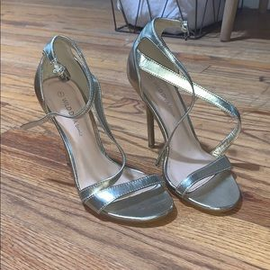 metallic gold heels